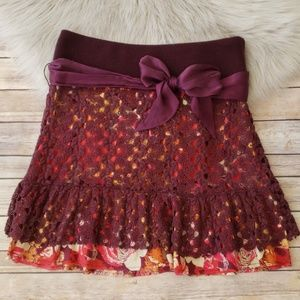 Free People Crochet Lace Overlay Floral Skirt